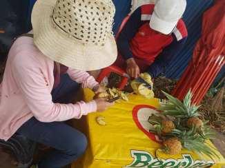 Peeling pineapples